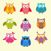 Vector set of cute owls — ストックベクタ