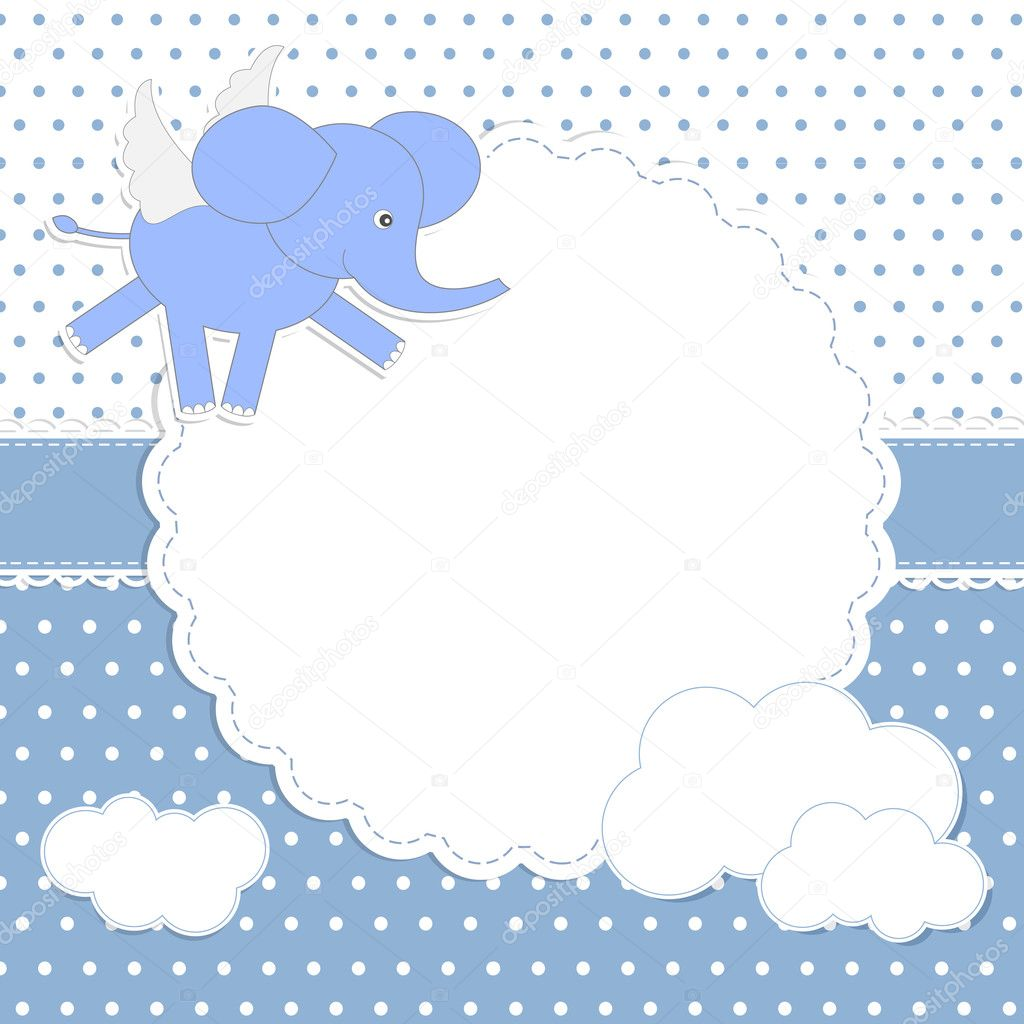Baby boy arrival card vector by leonart image 600444 vectorstock - Cute Baby Boy Card With Elephant Angel Stock Vector Marta17