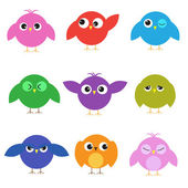 Set of cute birds with different emotions — Stock Vector