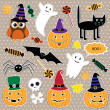 Stok Vektör: Vector set of Halloween stickers