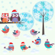 Birds and owls in winter forest — Imagen vectorial
