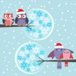 Royalty-Free Stock Vector Image: Couples of owls and birds winter