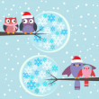 Stock Vector: Couples of owls and birds winter