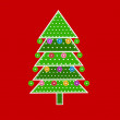 Christmas tree in patchwork style - Stockvectorbeeld