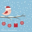 Winter card with cute bird — Stockvektor