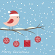 Winter card with cute bird - Stockvektor