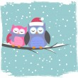 Winter card with cute owls — Stok Vektör