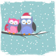 Winter card with cute owls — Stock Vector