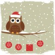 Winter card with cute owl - Stockvektor