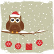 Winter card with cute owl — Stock Vector