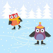 Ice skating cute owls — Stockvector