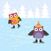 Cute búhos de patinaje sobre hielo — Vector de stock