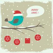 Retro winter card with cute bird — Stock Vector