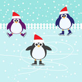 Ice skating cute Penguins — Stock Vector
