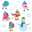 Vector de stock : Cute birds winter