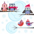 图库矢量图片: Owls and birds in winter forest