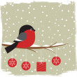 Winter card with bullfinch — Stok Vektör