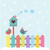 Fondo con aves y pajarera invierno — Vector de stock