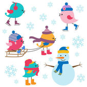 Cute birds winter — Stock Vector