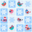 Birds and snowflakes — Stock Vector