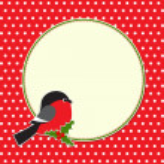 Christmas round frame with bullfinch — Stock Vector