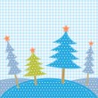 Christmas trees in patchwork style — Imagen vectorial