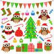 Stock Vector: Vector set of Christmas party elements