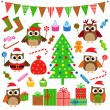 Vector set of Christmas party elements — стоковый вектор #16018393