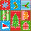 Christmas patchwork background — Imagen vectorial