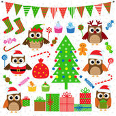Vector set of Christmas party elements — ストックベクタ