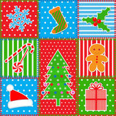 Christmas patchwork background — Stock Vector