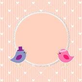 Romantic frame with cute birds — Stock Vector