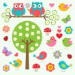 Birds and owls in spring forest — Vettoriali Stock