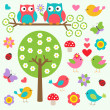 Vecteur: Birds and owls in spring forest