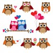 Vector de stock : Cute owls for Valentine day