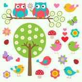 Aves y buhos en bosque de la primavera — Vector de stock