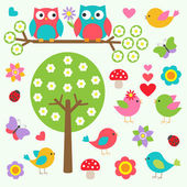 Birds and owls in spring forest — Vector de stock