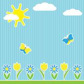 Bakgrund med blommor och fjärilar — Stockvektor