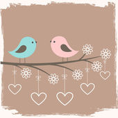 Couple of cute birds — Vector de stock