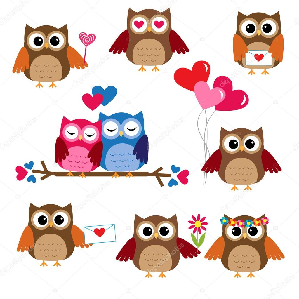Cute owls for Valentine day. Vector set — Stock Vector #19609245