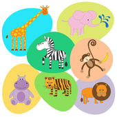 Vector set of cute animals — Stock Vector