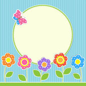 Round frame with flowers and butterfly — Vector de stock