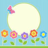 Rund ram med blommor och fjäril — Stockvektor
