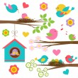 Family of birds — Imagen vectorial