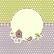 Round retro frame with birds and birdhouse - Vettoriali Stock 