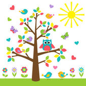 Colorful tree with cute owl and birds — Vector de stock