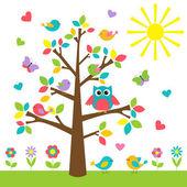 árbol colorido con lindo buho y aves — Vector de stock
