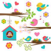 Familie van vogels — Stockvector