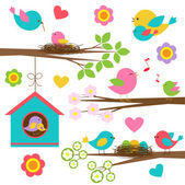 鳥の家族 — ストックベクタ