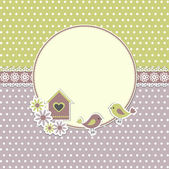 Round retro frame with birds and birdhouse — Stok Vektör